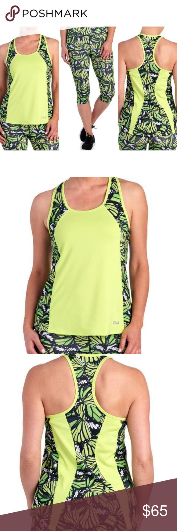 Neon Green Fila Athletic Work Out Bundle Outfit Chic and sporty, this moisture wicking knit racerback tank from Fila features a mesh embossed paneling patterned in a butterfly print for a fashion-forward take on your athletic gear. Size medium. NWT. Fila Tops