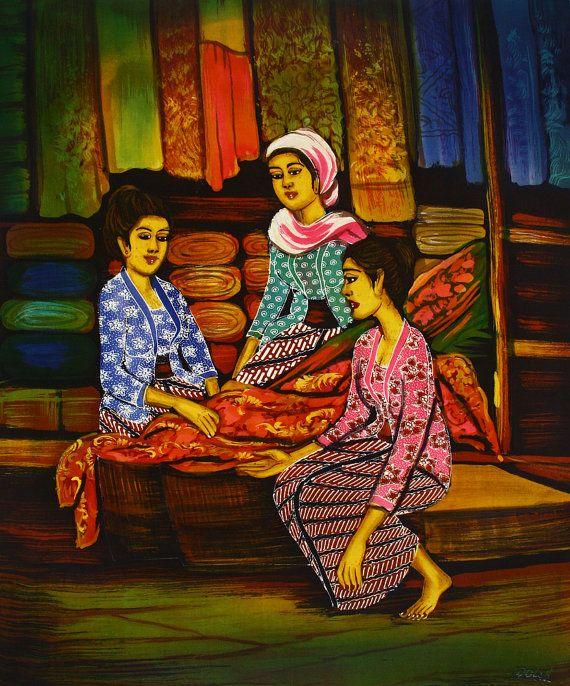 Original Batik Art Painting On Cotton 'A Material By