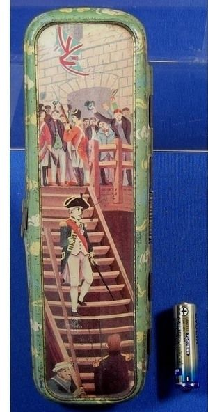 1910's Japanese Tin Pencil Case Art of Admiral Horatio Nelson / vintage antique old art / Japanese history historic material Japan - Japan War Art