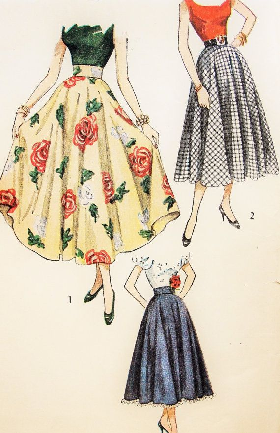 Simplicity 2359 Vintage Sewing Pattern 40s Full Circle Skirt Pattern Evening Ballerina and Daytime Lengths Waist 32 UNCUT -- It's the circle skirts. I love them.