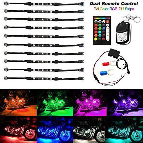 AMBOTHER 10Pcs Moto/Voiture LED RGB Néon Ruban Bande Multi-Color Réglable 12V #AMBOTHER #Moto/Voiture #Néon #Ruban #Bande #Multi #Color #Réglable