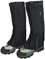 FiveJoy hiking gaiters: Waterproof and breathable, good for winter hiking in the cold and in the snow.