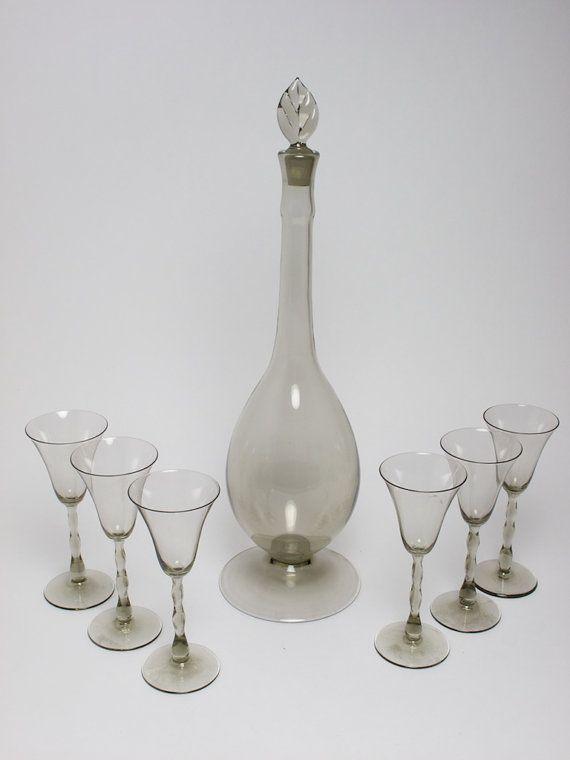 Orrefors Art Deco Astrid liqueur glass set by SimonCurtisAntiques