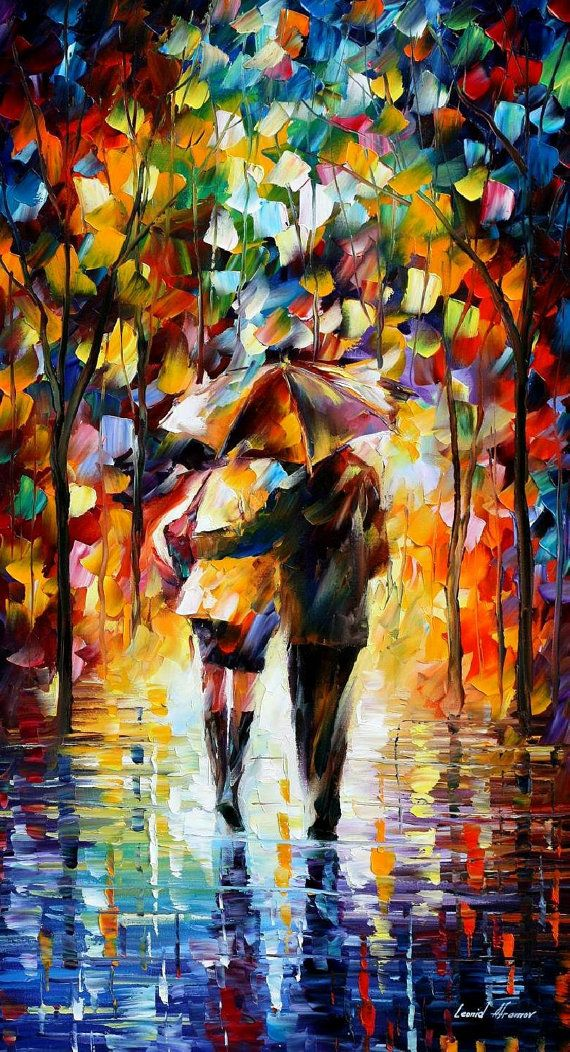 Bonded By The Rain 2 — PALETTE KNIFE Oil Painting On Canvas By Leonid Afremov #afremov #leonidafremov #art #paintings #fineart #gifts #popular #colorful