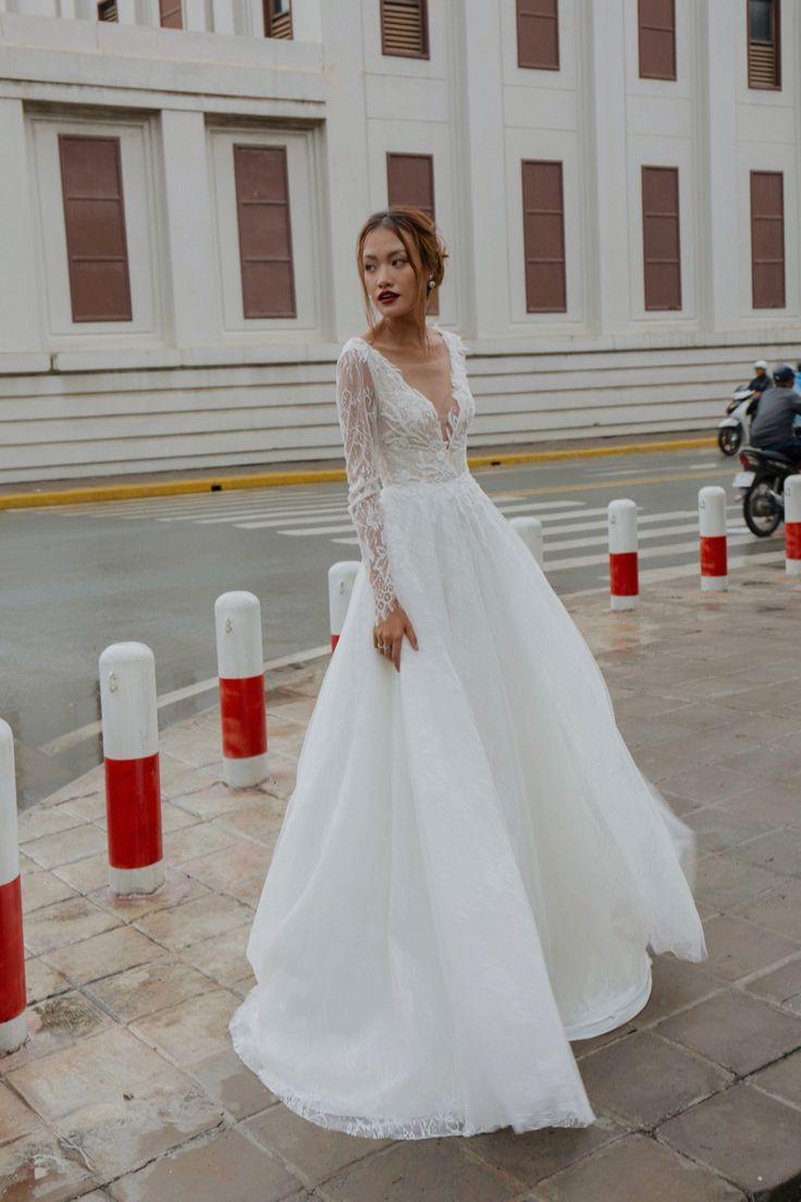 MERCURY Vintage wedding dress with long sleeve Vneck open   Etsy ...