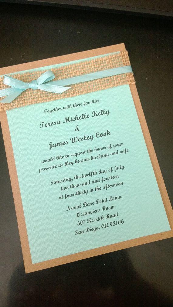 Beach themed aqua blue, kraft brown and burlap wedding invitation on Etsy, $2.25