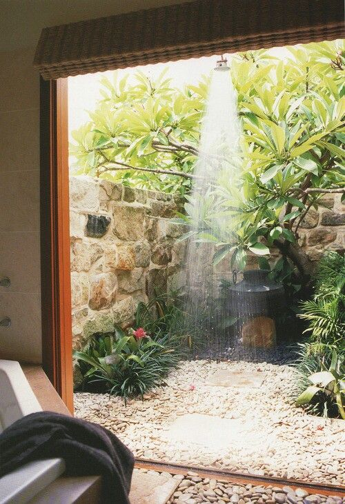 How awesome would that be ... to be able to just step outside in the sunshine and take your morning shower!