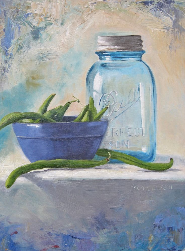 Blue Ball Jar and green beans by Stephanie Lee...reminds me of snapping beans on the porch at Aunt Lillian's.