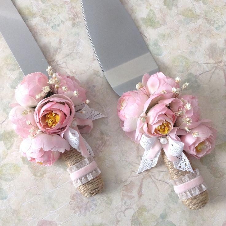 Peony Wedding Cake Server and Knife Set / Wedding Cake Cutter Set / Blush Color Peonies Wedding Cake Server Set / Peonies Flowers Cake Set by CraftsbyBeba on Etsy