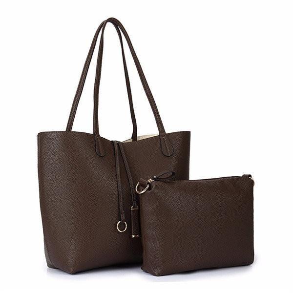 Women Lichee Pattern PU Leather 2-Set  Clutch Bag Handbag