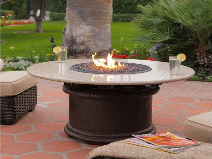 Patio Ideas, Round Propane Fire Pit Table With Book Reading Installed  Andrattan Patio Chairs :