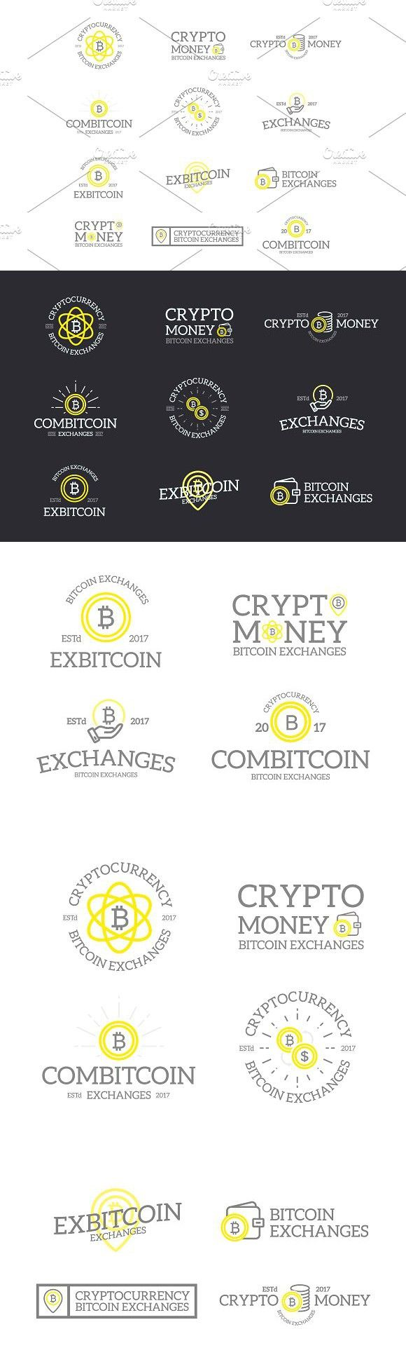 Set of retro vintage bitcoin and cryptocurrency logos or insignias, emblems, labels and badges and other branding objects. Vector line style. Logo Tem…
