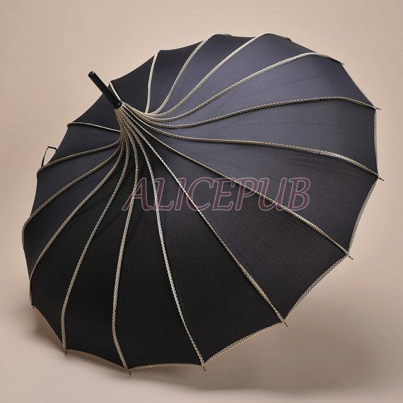 black rain parapluie imperm able parapluie parapluie pagode noire parasol parapluie vintage. Black Bedroom Furniture Sets. Home Design Ideas