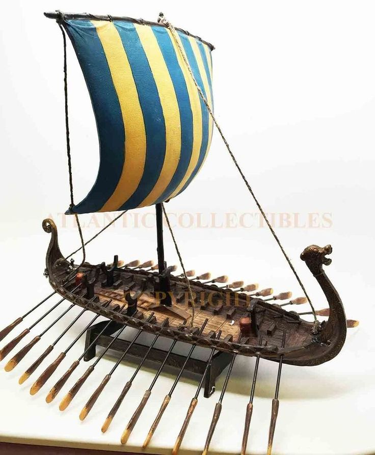 "Norse Legend Viking Battle Ship Replica Sculpture Figurine 12.75""L Collectible"