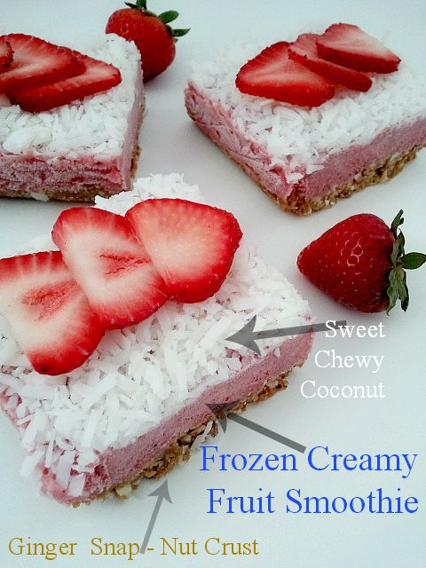 Frozen Fruit Smoothie Breakfast Bars with Ginger Snap Crust - From Canned-Time.com