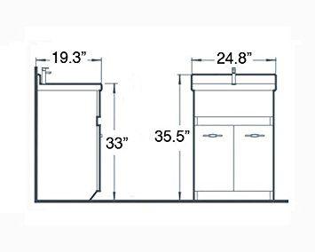 "sink ALEXANDER 24"" OAK Utility Sink - OAK Modern Mop Slop Tub Deep Sink Ceramic Laundry Room Vanity Cabinet Contemporary Hardwood Hard wood - Utility Sink With Cabinet - Amazon.com"