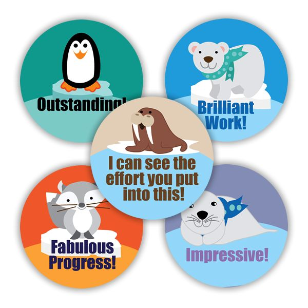 28mm stickers showing Arctic animals to congratulate your pupils on brilliant work. 125 stickers per pack.