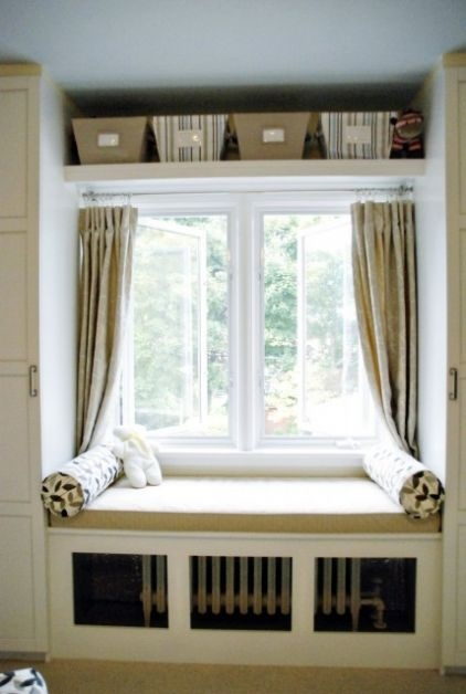 Our next place may very well have radiators - here's a way to hide them by building a window seat over it and then putting vents in front