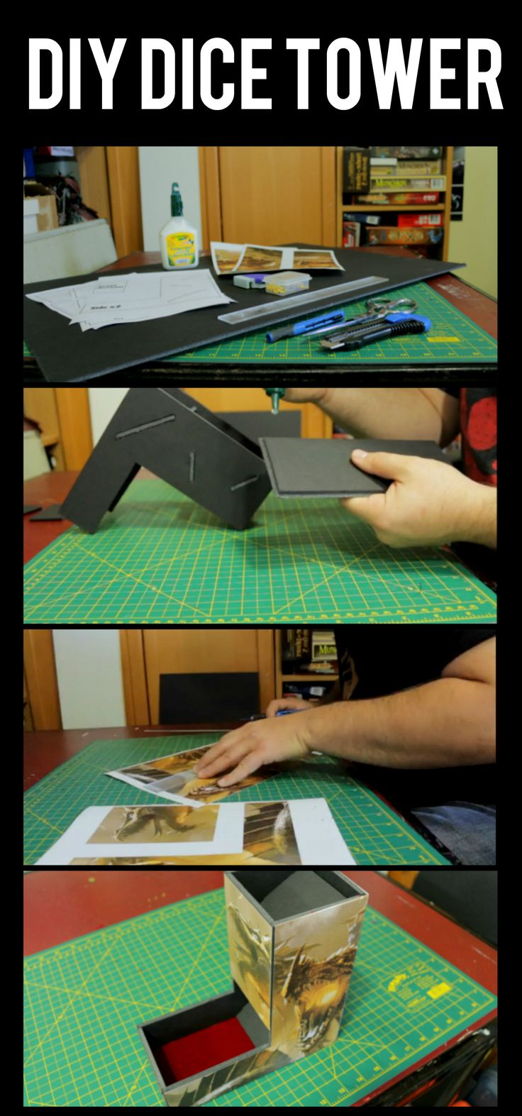 Create your own dice tower! Click to watch the tutorial #dicetower #dice #diy #project #crafts