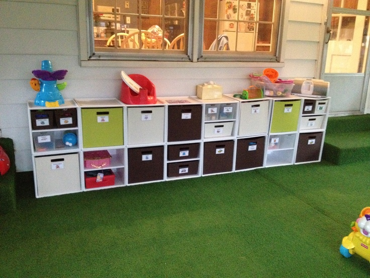 Playroom in the Sunroom!  Playroom organization using Target Itso bins and labels