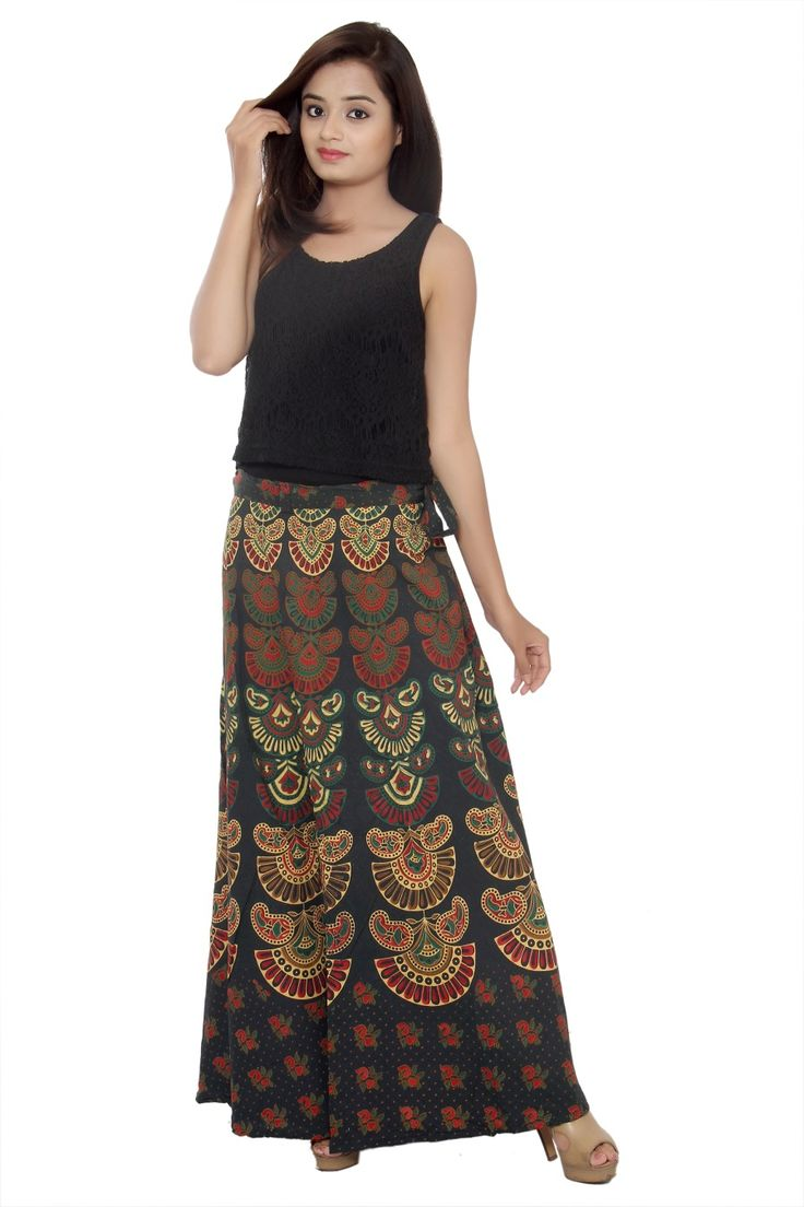Indian Ethnic Vintage Cotton Wrap Around Maxi Indian Dress,Beach Wear, Indian Skirt Party Dress Wd28