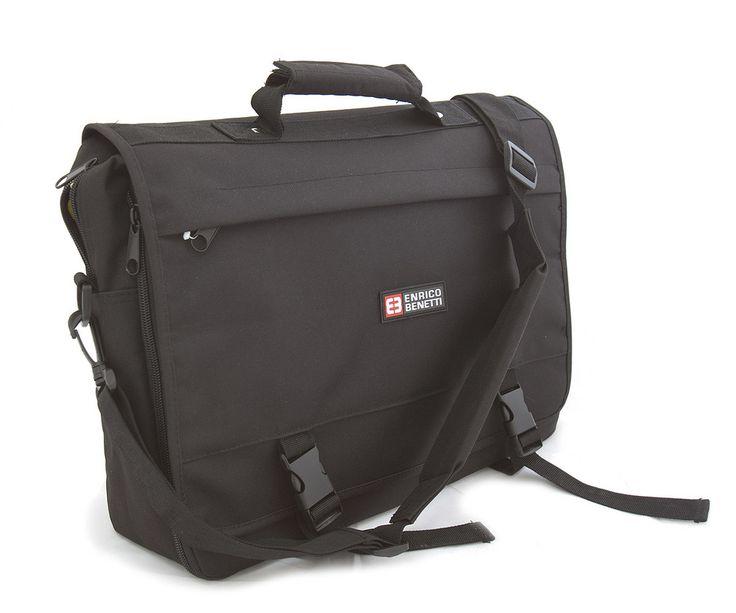 #bestseller Představujeme vám absolutní BESTSELLER - černou pánskou tašku do práce Enrico Benetti. Ideální prostorná a praktická taška do zaměstnání z pevného textilního materiálu. Uvnitř – na zip, zepředu jsou dvě kapsy se zipem a tři bez zipu. Na klopě a zezadu další kapsy. Součástí tašky je nastavitelný popruh. Objem tašky lze zvětšit rozepnutím zipu. Do tašky se vleze notebook do rozměru 40 x 29 cm.