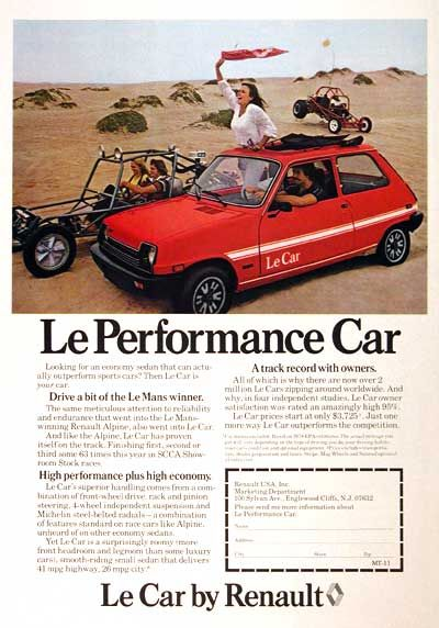 """Well, it's stretching it a bit to call it a """"performance car,"""" for but what it was, Renault's Le Car was actually a pretty good little drive. It was the first new car I bought, back in 1980 or so, and I liked it."""