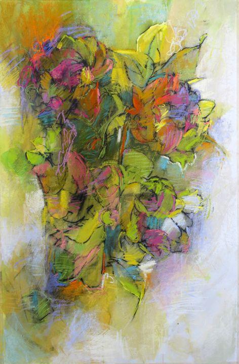 Peonies in a vase, 40x26 pastel on paper by Debora L. Stewart.