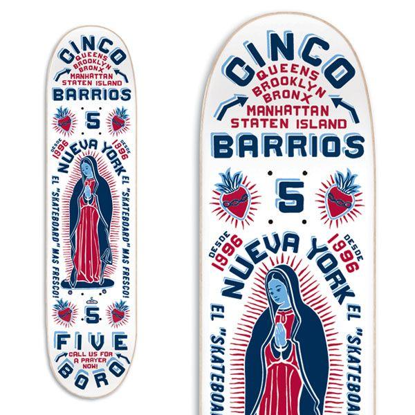 "5boro Skateboards ""Cinco Barrios Color White"" Skateboard Deck via chris streger"
