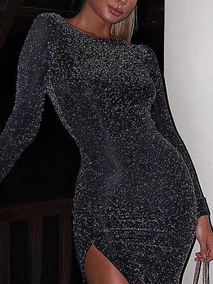 Glitter Long Sleeve Thigh Slit Party Dress 13