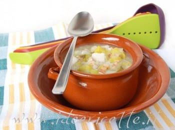 Ricetta Zuppa di porri ed eddos (o taro) con pancetta croccante