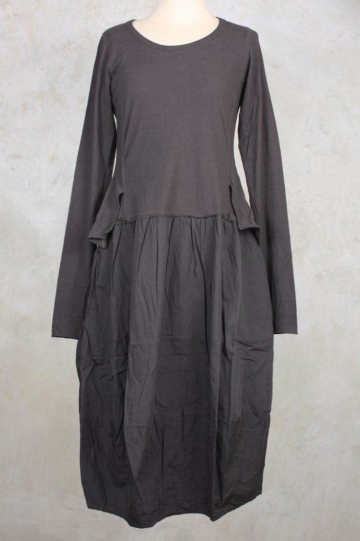 Long Sleeved Dress with Jersey Tails in Ash - Rundholz Black Label