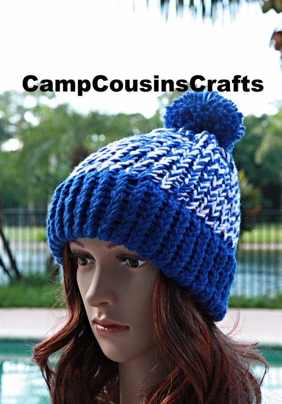 INDIANAPOLIS COLTS knit hat blue knit hatU by CampCousinsCrafts