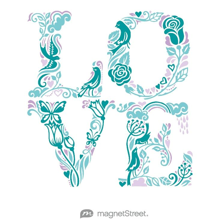 Teal, Turquoise, Lavender, and Lilac Wedding Color Palette - free custom artwork created at MagnetStreet.com
