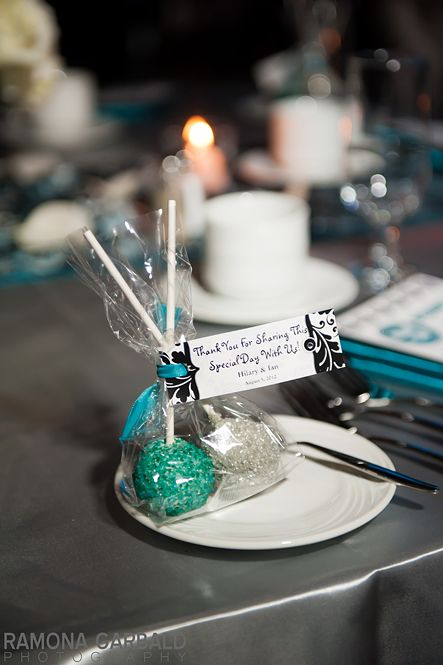 Cake pop favors- I love the idea of two pops in one bag for couples.  In chartreuse and white of course