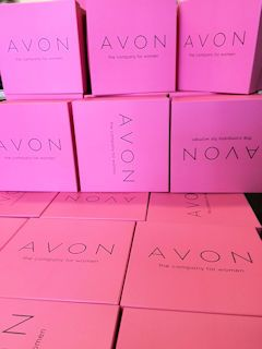 Avon Boxes, Pink Pantone, black print and matt laminate