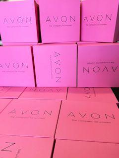 Avon Boxes, Pink Pantone, black print and matt laminate