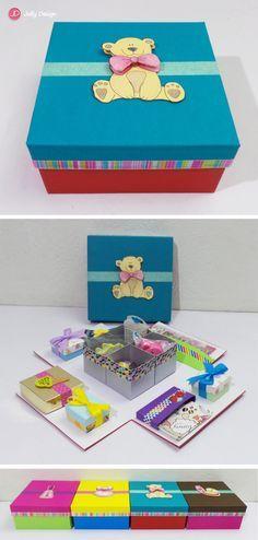 Caja scrap Mini kit de papelería Turquesa y rojo