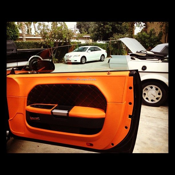 dodge challenger orange and black interior custom seats door panels auto addiction interiors. Black Bedroom Furniture Sets. Home Design Ideas