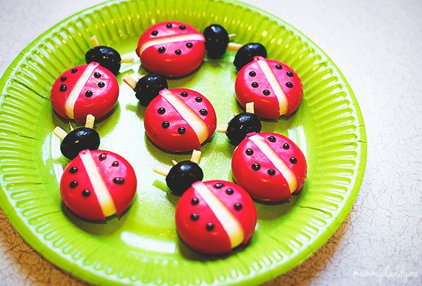 Bug Themed Birthday Party...   Cheese ladybirds made from a babybel, olive, chipsticks and black writing icing.  #birthdaypartythemes #birthdaypartyideas #bugparty