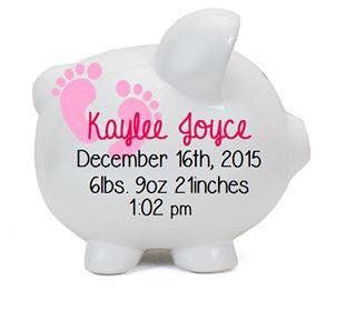 Baby Girl Personalized Piggy Bank