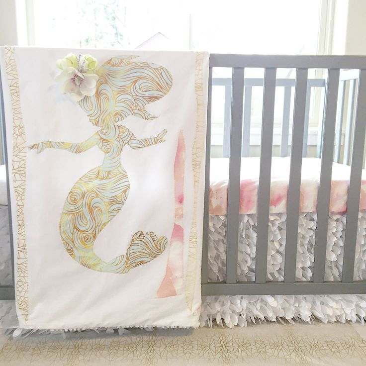 mermaid baby blanket nursery crib quilt by on etsy mermaid baby bedding