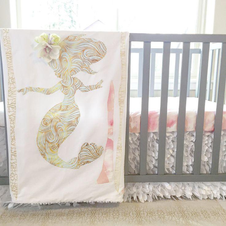 Mermaid Baby Blanket- Nursery Crib Quilt by SleepingLakeDesigns on Etsy. Mermaid baby bedding - So pretty for a mermaid nursery.