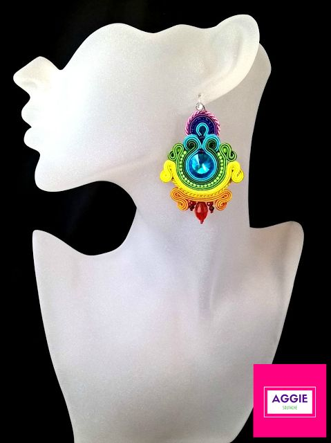 Rainbow soutache earrings