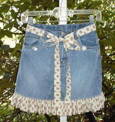 Upcycled GAP pantalones vaqueros del dril de algodón chicas falda talla 10 con volantes con juego corbata cinturón vaqueros reciclados Boho Rockabilly Moda Casual