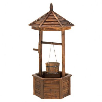 <p>Your decorating wish just came true! Natural wood wishing well adds quaint nostalgic appeal to your outdoor living space; so pretty when its bucket and base are filled with your favorite flowering plants!</p>
