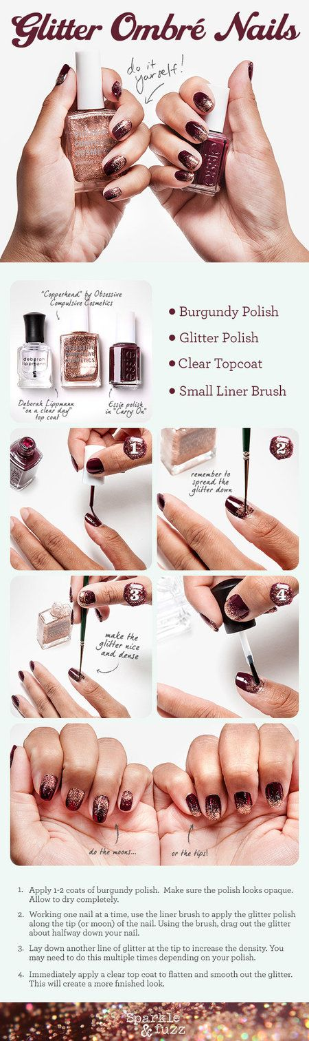 DIY: GLITTER OMBRE NAILS #howto #Nails #scarves