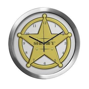 Sheriff Badge Modern Wall Clock at cafepress store: AG Painted Brush T-Shirts. #Sheriff #clock