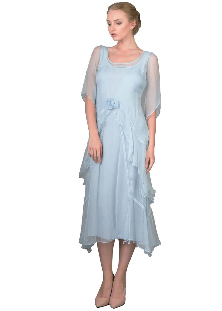 Great Gatsby Tea Party Dress in Blue by Nataya $229.00 AT vintagedancer.com