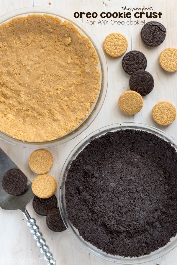 This Oreo Cookie Crust Recipe can be used with any flavor Oreo Cookie! It's an easy no-bake pie crust that works for so many different pies.